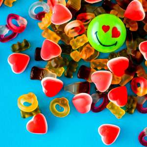 Green Smiley Halves on some sweets