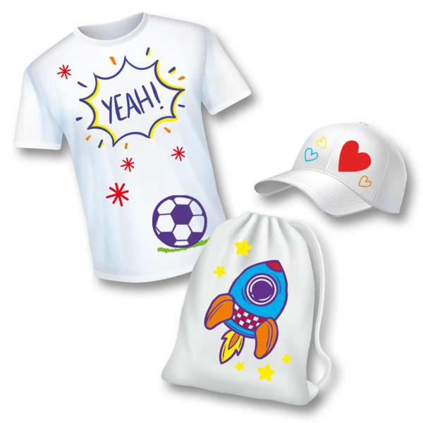 textile painted t shirt cap and bag