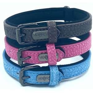 Vigorous Black, pink and blue dog collar