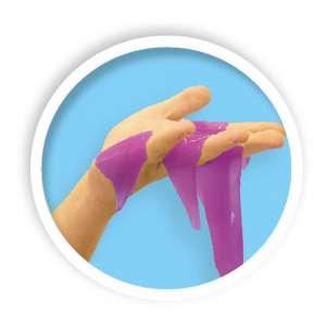 Glitter slime in a hand