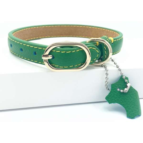 Green Leather dog collars